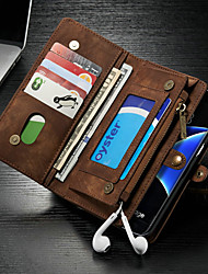 cheap -CaseMe Case For Samsung Galaxy S7 edge Wallet / Card Holder / with Stand Full Body Cases Solid Colored Hard PU Leather