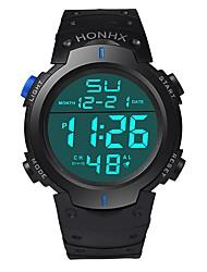 Недорогие -Муж. Спортивные часы электронные часы Японский Цифровой Стеганная ПУ кожа Черный 30 m Защита от влаги Календарь Секундомер Цифровой Кольцеобразный Мода - Черный Зеленый Синий / Два года / Хронометр