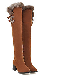 cheap -Women's Boots Knee High Boots Chunky Heel Closed Toe PU Knee High Boots Winter Black / Yellow / Red