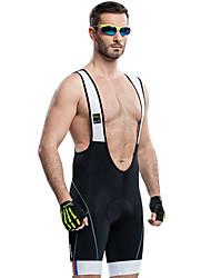 cheap -SANTIC Men's Cycling Bib Shorts - Black Solid Color Bike Bib Shorts Padded Shorts / Chamois Breathable 3D Pad Quick Dry Reflective Strips Sports Spandex Solid Color Mountain Bike MTB Road Bike Cycling