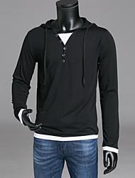 cheap -Men's Daily T-shirt - Color Block Hooded Black / Long Sleeve