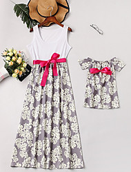 cheap -Mommy and Me Basic Daily Floral Sleeveless Asymmetrical Dress White