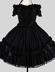 cheap -Sweet Lolita Elegant Dress Women's Girls' Cotton Japanese Cosplay Costumes Plus Size Customized Black Ball Gown Solid Colored Butterfly Sleeve Short Sleeve Knee Length