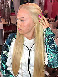 cheap -Synthetic Lace Front Wig Straight Middle Part Lace Front Wig Blonde Long Blonde Synthetic Hair 22-26 inch Women's Heat Resistant Women Middle Part Blonde / Glueless