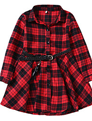 cheap -Kids Girls' Sweet Christmas Houndstooth Christmas Long Sleeve Dress Black