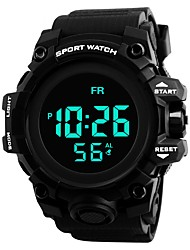 Недорогие -Муж. Спортивные часы электронные часы Японский Цифровой Стеганная ПУ кожа Черный 30 m Защита от влаги Календарь Секундомер Цифровой Кольцеобразный Мода - Черный Красный Синий / Два года / Хронометр