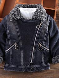 abordables -Enfants Garçon Basique Quotidien Couleur Pleine Manches Longues Normal Coton Veste & Manteau Noir