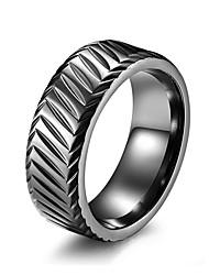 cheap -Men's Band Ring Ring Groove Rings 1pc Black Silver Rose Gold Steel Stainless Stylish Basic Trendy Birthday Valentine Jewelry Classic Lovely
