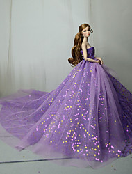 cheap -Doll Dress Party / Evening For Barbiedoll Purple Blue Pink Tulle Lace Paillette Dress For Girl's Doll Toy