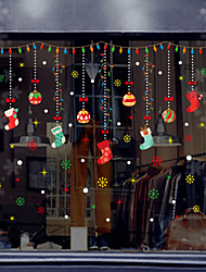 cheap -Christmas Colored Socks Window Film & Stickers Decoration Happy New Year / Christmas Flower / Floral / Holiday / Character PVC(PolyVinyl Chloride) Window Sticker / New Design / Door Sticker