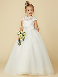 cheap -Ball Gown Floor Length Flower Girl Dress - Lace / Tulle Short Sleeve High Neck with Bow(s) / Lace / Sash / Ribbon / First Communion