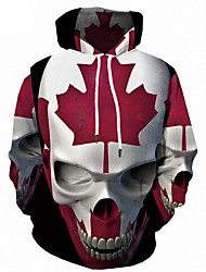 cheap -Men's Plus Size Sports Active / Street chic Long Sleeve Loose Hoodie - 3D / Skull Print Hooded Red 4XL / Fall / Winter