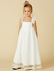 cheap -A-Line Ankle Length Flower Girl Dress - Cotton / Lace Sleeveless Straps with Pleats / First Communion