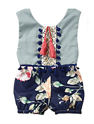 cheap -Baby Girls' Basic Daily Floral Floral Style Sleeveless Cotton Romper Light Blue / Toddler