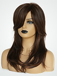 cheap -Human Hair Wig Medium Length Natural Straight Side Part Brown Fashionable Design New Design Comfortable Capless Women's Brown 20 inch / Natural Hairline / Natural Hairline