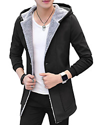 cheap -Men's Daily Basic Fall / Winter Long Trench Coat, Solid Colored Hooded Long Sleeve Faux Fur / Cotton / Polyester Black / Blue