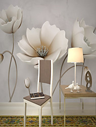 cheap -Mural Wallpaper Wall Sticker Covering Print Adhesive Required 3D Relief Effect Blossom Flower Canvas Home Décor