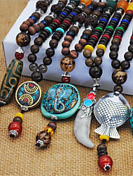 cheap -Women's Pendant Necklace Vintage Necklace Long Beads Animal Faith Ladies European Ethnic Boho Resin Copper Alloy Bronze Turquoise Light Brown Dark Brown Ancient Bronze 80 cm Necklace Jewelry 1pc For