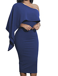 cheap -Women's Party Daily Elegant Slim Bodycon Dress - Solid Colored High Waist Strapless Wine Army Green Royal Blue M L XL / Sexy