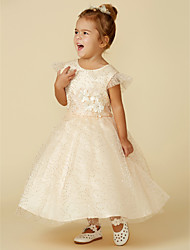cheap -A-Line Above Knee / Ankle Length Flower Girl Dress - Lace / Tulle Sleeveless Jewel Neck with Appliques / Lace