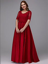 cheap -A-Line V Neck Floor Length Lace / Satin Plus Size / Red Prom / Formal Evening Dress with Appliques / Sash / Ribbon 2020