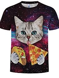 preiswerte -Inspiriert von Cosplay Katze / Cosplay Anime Cosplay Kostüme Japanisch Cosplay-T-Shirt Katze / Himmel / Print Kurzarm T-shirt Für Herrn