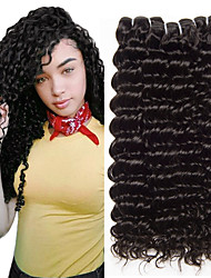 cheap -4 Bundles Brazilian Hair Deep Curly Virgin Human Hair Remy Human Hair Natural Color Hair Weaves / Hair Bulk Hair Accessory Bundle Hair 8-28 inch Black Natural Color Human Hair Weaves Odor Free