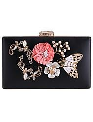 cheap -Women's Crystals / Flower PU(Polyurethane) Evening Bag Rhinestone Crystal Evening Bags Floral / Botanical White / Black / Blushing Pink