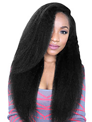 cheap -8 to 24 inches brazilian human hair wigs kinky straight glueless lace front wigs for black women 130% 150% with Baby Hair / Natural Hairline / African American Wig