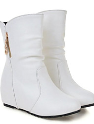 cheap -Women's PU(Polyurethane) Fall Boots Flat Heel Closed Toe Mid-Calf Boots White / Black / Yellow