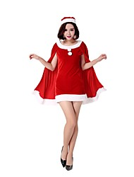 cheap -Santa Clothes Adults' Women's Halloween Christmas Christmas Halloween Carnival Festival / Holiday Polyster Red Carnival Costumes Solid Colored Christmas
