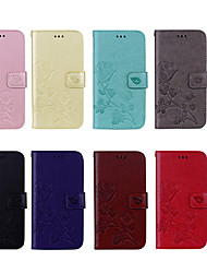 cheap -Case For Apple iPhone X / iPhone 8 Plus / iPhone 8 Wallet / Card Holder / with Stand Full Body Cases Flower Hard PU Leather