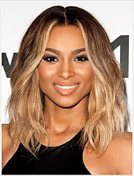 cheap -Remy Human Hair Lace Front Wig Middle Part Ciara style Brazilian Hair Wavy Blonde Wig 150% Density 12 inch with Baby Hair Best Quality Hot Sale Thick with Clip Women's Short Medium Length Human Hair