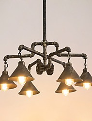 cheap -6-Light 72 cm Creative / Pipe Chandelier Metal Industrial Antique Brass / Painted Finishes Country 110-120V / 220-240V