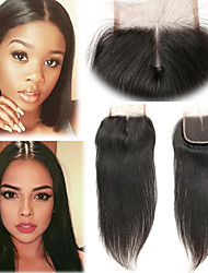 cheap -Laflare Malaysian Hair 4x4 Closure Straight Middle Part Middle Part Swiss Lace Remy Human Hair Women's Soft / Best Quality / New Arrival Christmas / Wedding / Halloween / For Black Women