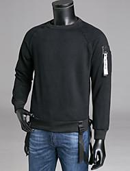 abordables -Homme Basique Pantalon - Couleur Pleine Blanc / Col Arrondi / Manches Longues
