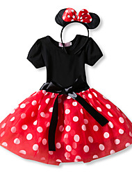 cheap -Princess Mouse Polka Dots Cartoon Cute Dress Ears Party Costume Girls' Kid's Costume Head Jewelry Red / Pink Vintage Cosplay Short Sleeve / Headwear