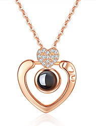 cheap -Women's Crystal Pendant Necklace Charm Necklace Classic Floating Heart Letter Ball i love you Ladies Romantic Sweet Fashion Sterling Silver Glass Alloy Silver Rose Gold 40 cm Necklace Jewelry 1pc For
