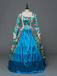 cheap -Rococo Victorian Costume Women's Party Costume Masquerade Blue Vintage Cosplay Stretch Satin Satin Long Sleeve Floor Length Ball Gown / Floral