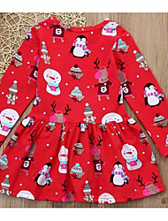 cheap -Kids Girls' Active Christmas Cartoon Christmas Long Sleeve Sleeveless Above Knee Dress Red