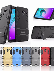 cheap -Phone Case For Samsung Galaxy Back Cover J6 Shockproof with Stand Solid Color Hard PC