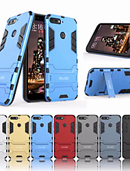 cheap -Case For Huawei Huawei Honor 7A / Huawei Y6 (2018) Shockproof / with Stand Back Cover Solid Colored Hard PC