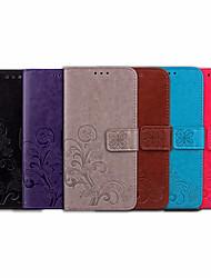 Недорогие -Кейс для Назначение Huawei Huawei Y6 (2018) Бумажник для карт / Флип Чехол Однотонный / Цветы Мягкий Кожа PU