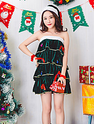 cheap -Cosplay Costume Santa Clothes Teen Adults' Women's Christmas Christmas New Year Festival / Holiday Plush Fabric Terylene Green Women's Carnival Costumes Holiday / Skirt / More Accessories / Shorts
