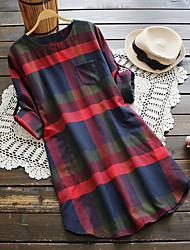 cheap -Women's Plus Size Daily Shirt Dress - Check Print Spring Blue XXXL XXXXL XXXXXL