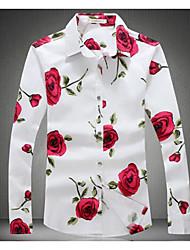 cheap -Men's Daily Weekend Slim Shirt - Floral Print Classic Collar Black / Long Sleeve / Spring / Fall