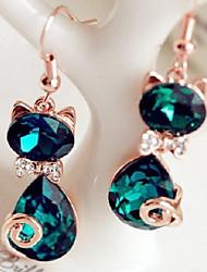 cheap -Women's Green Cubic Zirconia Drop Earrings Retro two stone Cat Ladies Stylish Sweet Rhinestone Earrings Jewelry Green For Gift Date 1 Pair