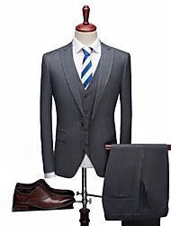 cheap -Solid Colored / Striped Standard Fit Spandex / Polyster Suit - Peak Single Breasted One-button / Suits