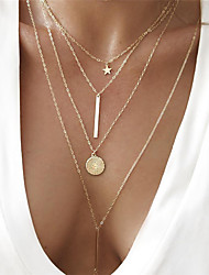 cheap -Women's Chain Necklace Y Necklace Coin Bar Star Ladies Bohemian European Fashion Alloy Gold Triangle heart Moon Circle 40 cm Necklace Jewelry 1pc For Party / Evening Gift / Layered Necklace