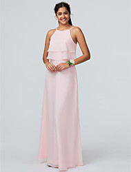cheap -Sheath / Column Spaghetti Strap Floor Length Chiffon Bridesmaid Dress with Cascading Ruffles / Open Back